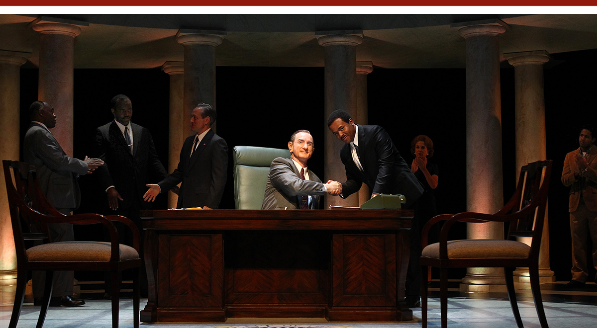 Gregg Daniel, Rosney Mauger, JD Cullum, Hugo Armstrong, Larry Bates, Lynn Gallagher, and Christian Henley in Robert Schenkkan's 'All The Way' at South Coast Repertory. Photo by Debora Robinson
