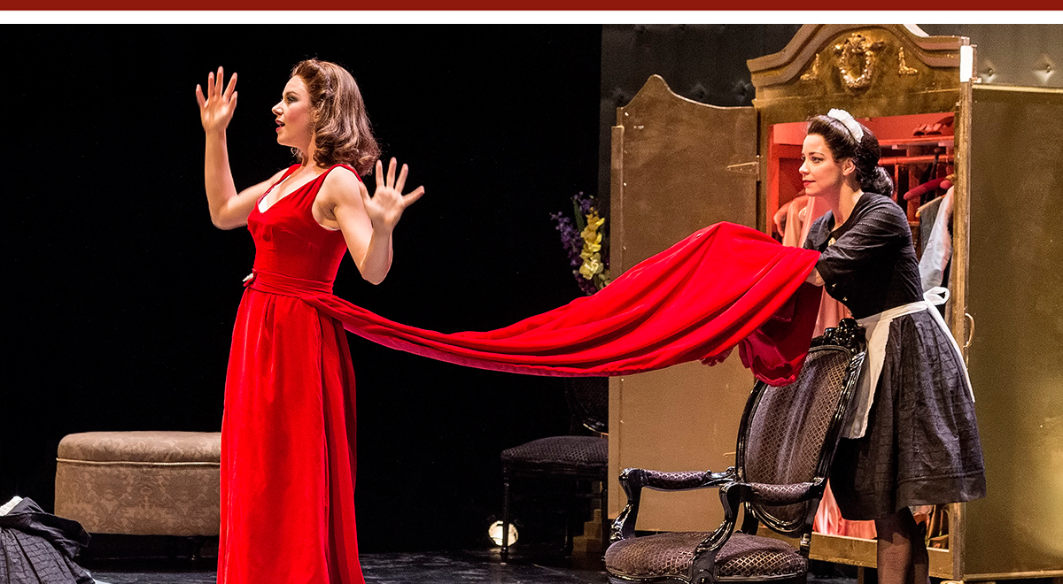 Jaimi Paige and Donnla Hughes in Jean Genet's 'The Maids' at A Noise Within. Photo by Craig Schwartz
