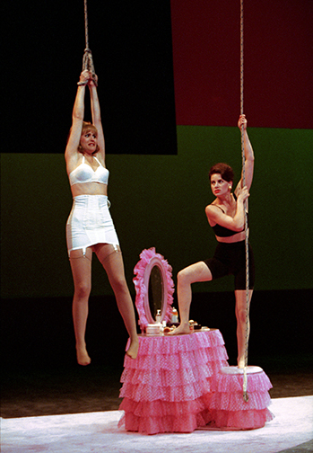 Susannah Schulman and Cindy Katz in 'The Taming of the Shrew,' South Coast Repertory, 1996
