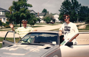 Danny Scheie and Mark Rucker leaving Scheie's parents' house in Illinois, on the road to New Haven