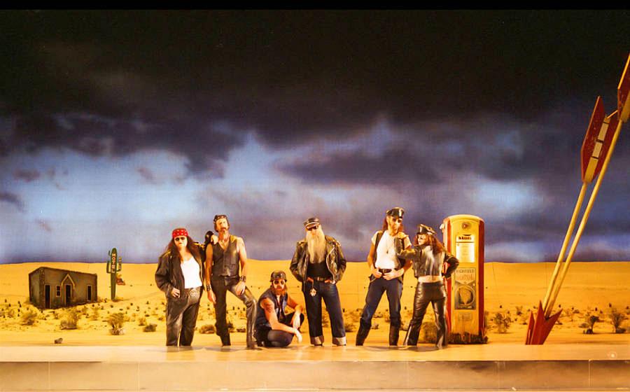 Martha McFarland, Hal Landon Jr., Preston Maybank, John-David Keller, Don Took and Rachel Dara Wolfe, 'Two Gentlemen of Verona' (South Coast Repertory, 2003)