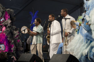 Above, Harrison (center), plays himself between Clarke Peters' Albert Lambreaux and Rob Brown's Delmond Lambreau, father and son characters both based on Harrison. Paul Schiraldi/HBO