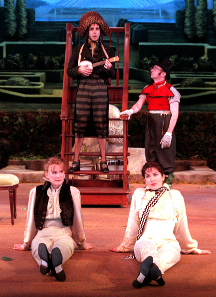 Clockwise from top: Tom Beckett, Patrick Kerr, Colette Kilroy and René Augesen in Mark Rucker's staging of 'The Triumph of Love.'