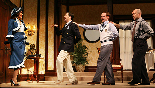 Susannah Schulman, Reg Rogers, Sean Dugan and Greg Stuhr in 'Rough Crossing' at Yale Repertory in 2008. Photo by Joan Marcus