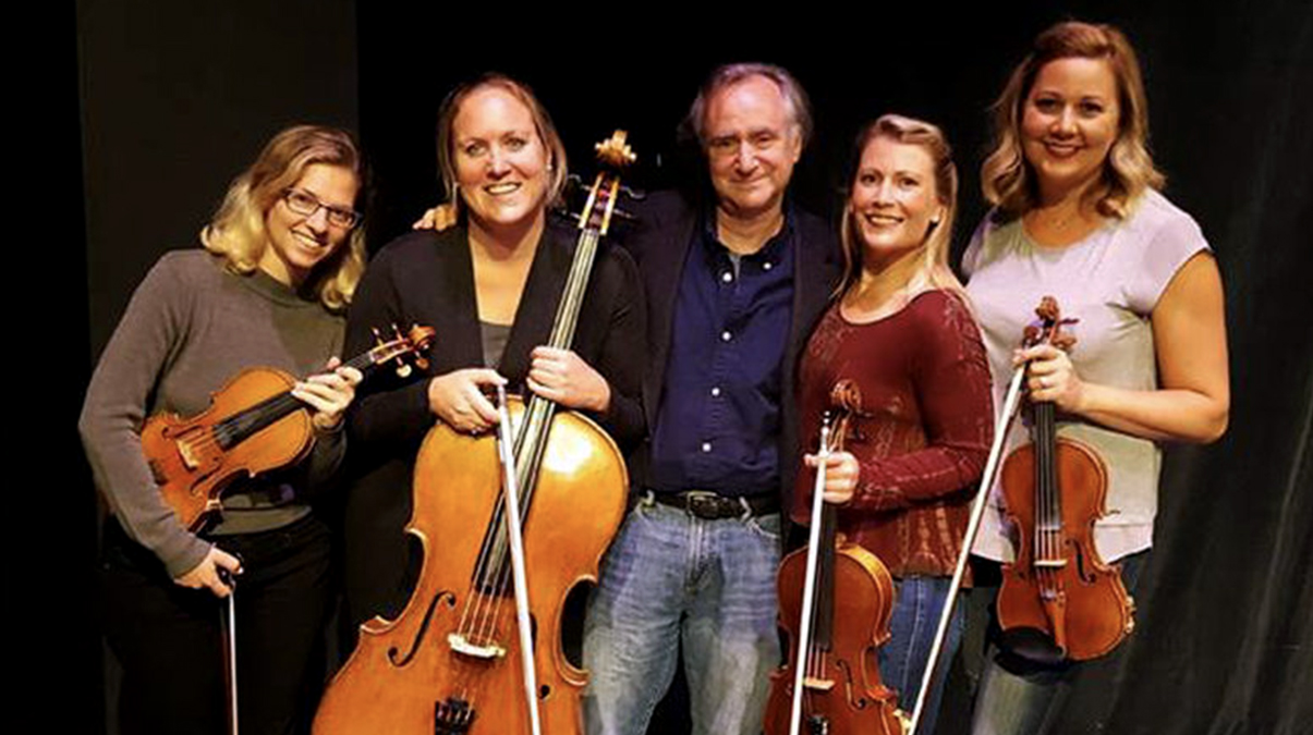 Michael Roth, center, with Quartet Nouveau members (left to right) Batya MacAdam-Somer, Elizabeth Brown, Annabelle Terbetski, and Missy Lukin
