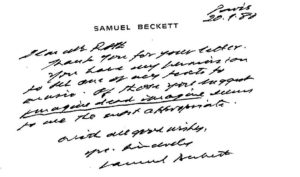 The note from Samuel Beckett to Michael Roth