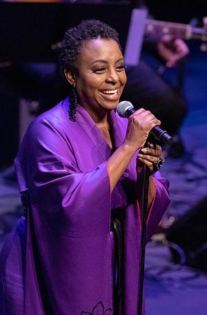 Ledisi performs as part of Terri Lyne Carrington's tribute to music of Joni Mitchell, Tina Turner and Nancy Wilson. Photo: (c) Reed Hutchinson 2018