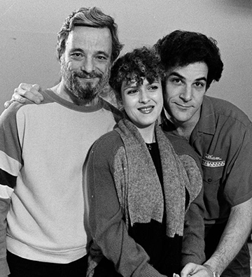 "Stephen Sondheim, Bernadette Peters and Mandy Patinkin in rehearsal for 1984's ""Sunday in the Park with George"""