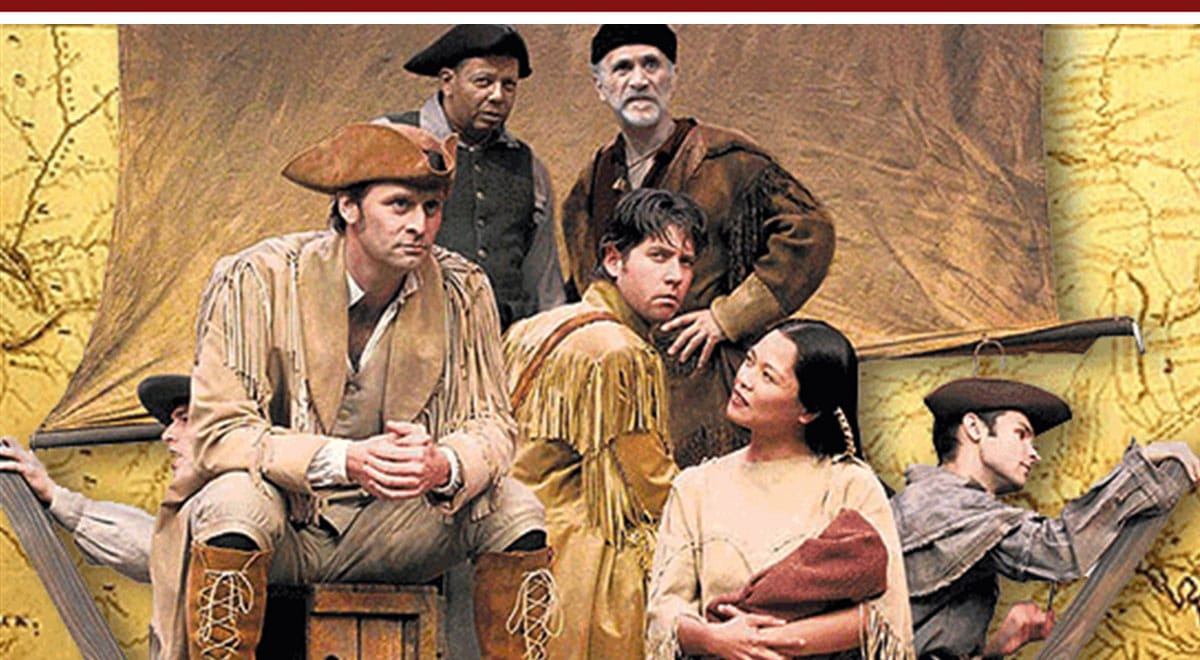 Jeffrey Nordling, James Barbour, Tess Lina and Ty Mayberry, front; Eugene Lee and Tony Amendola in Lewis and Clark Reach the Euphrates