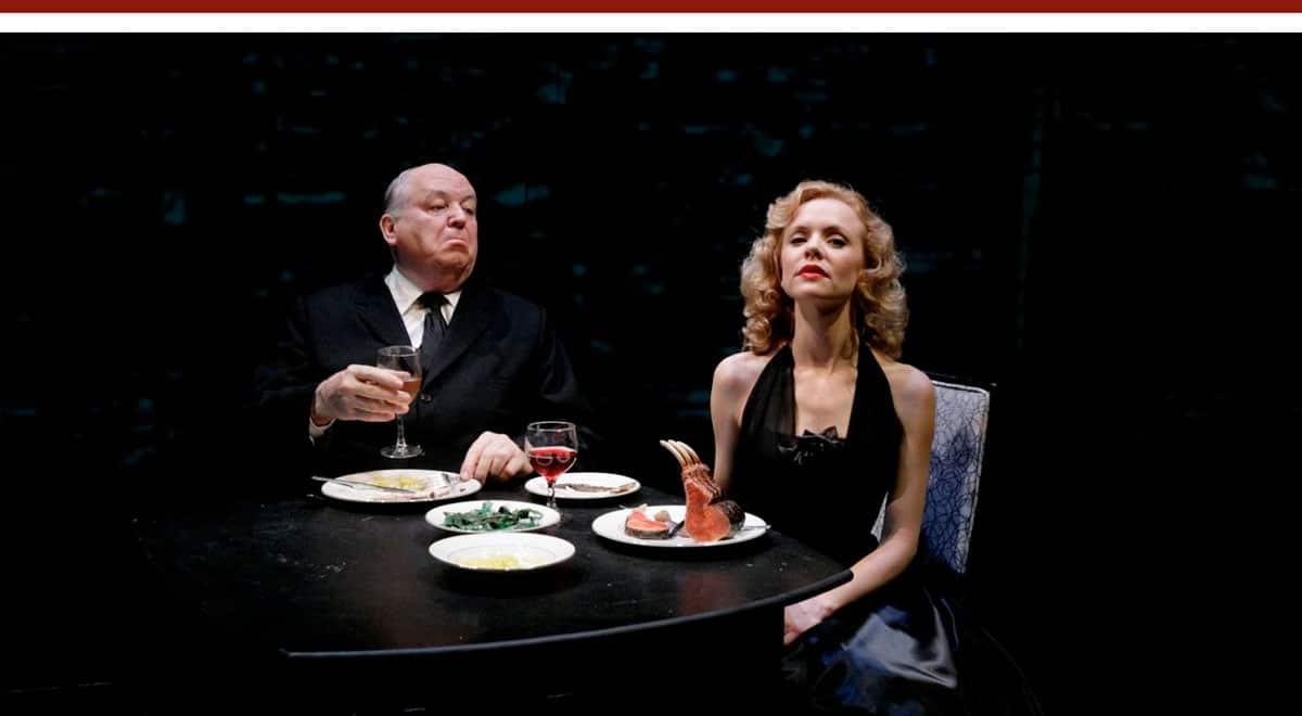 Dakin Matthews and Sarah Aldrich  in Hitchcock Blonde at South Coast Repertory