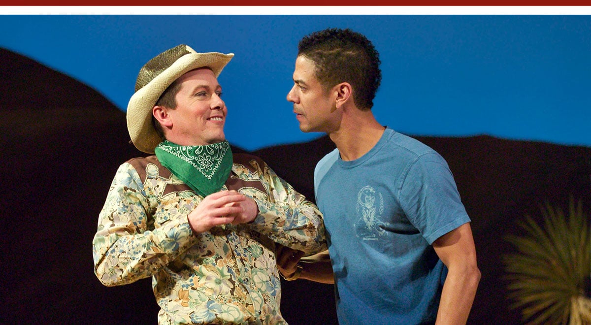 Christopher Liam Moore and Leith Burke in Cornerstone Theatre Company's 'As You Like It: A California Concoction' at Pasadena Playhouse
