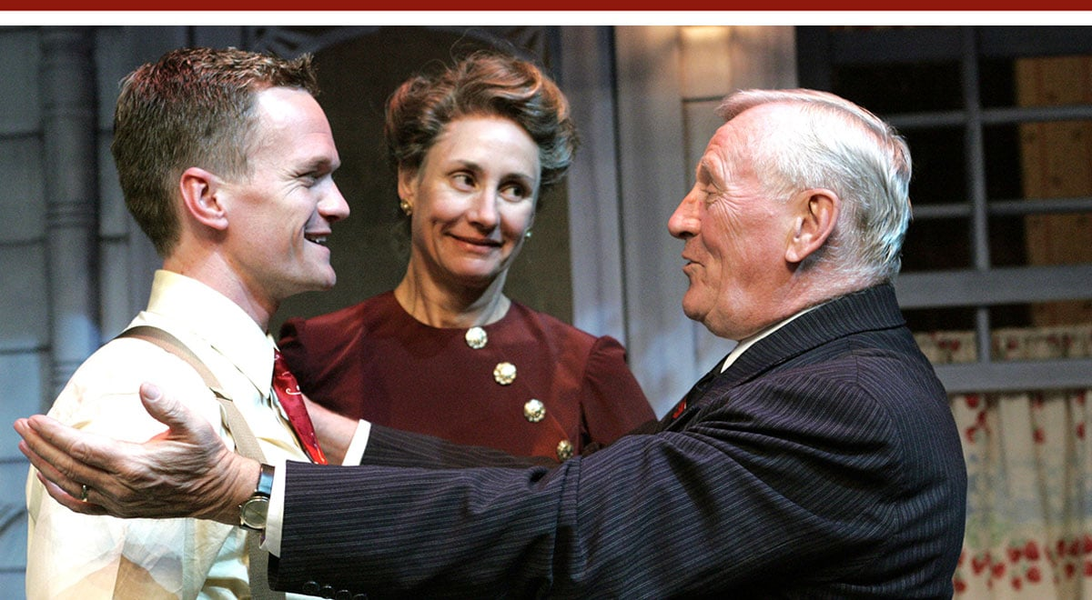 Neil Patrick Harris, Laurie Metcalf and Lou Cariou in All My Sons at the Geffen Playhouse. Photo by Michael Lamont