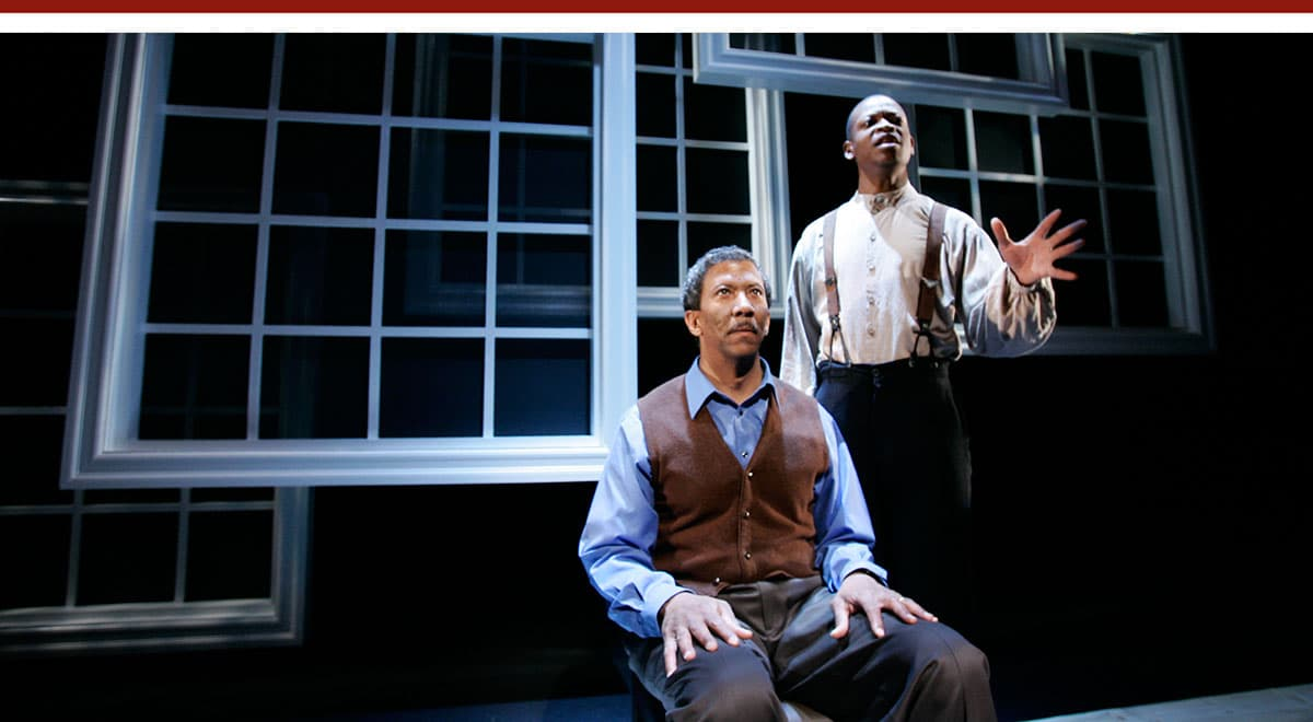 Reg E. Cathey and Larry Gilliard Jr in Blue Door at South Coast Repertory. Photo by Henry DiRocco