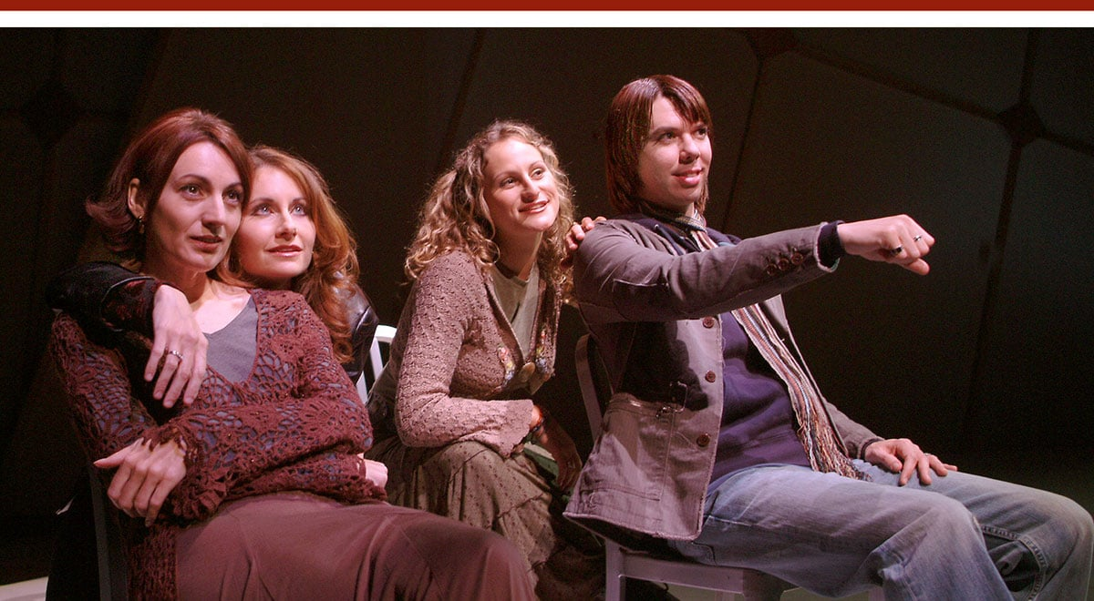 Helen Wassell, Kirsten Chandler, Yosefa Forma and Kelly Mantle in Last Easter at Laguna Playhouse. Photo by Ed Krieger