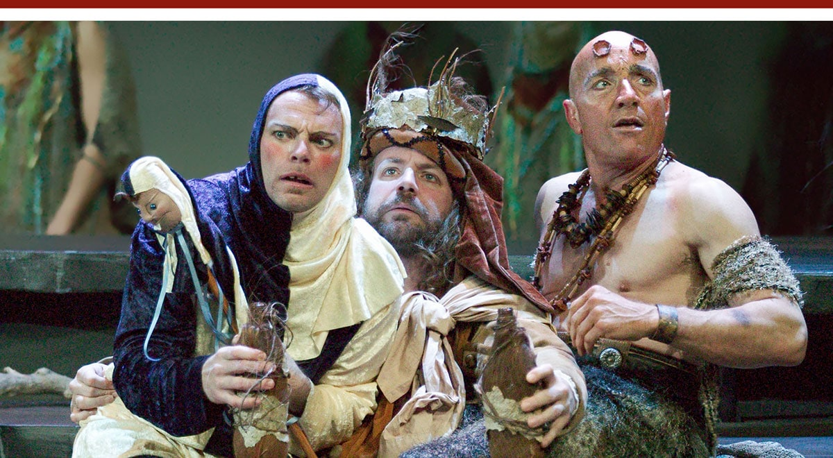 Bo Foxworth, Ray Porter and Stephen Weingartner in 'The Tempest' at A Noise Within. Photo by Craig Schwartz