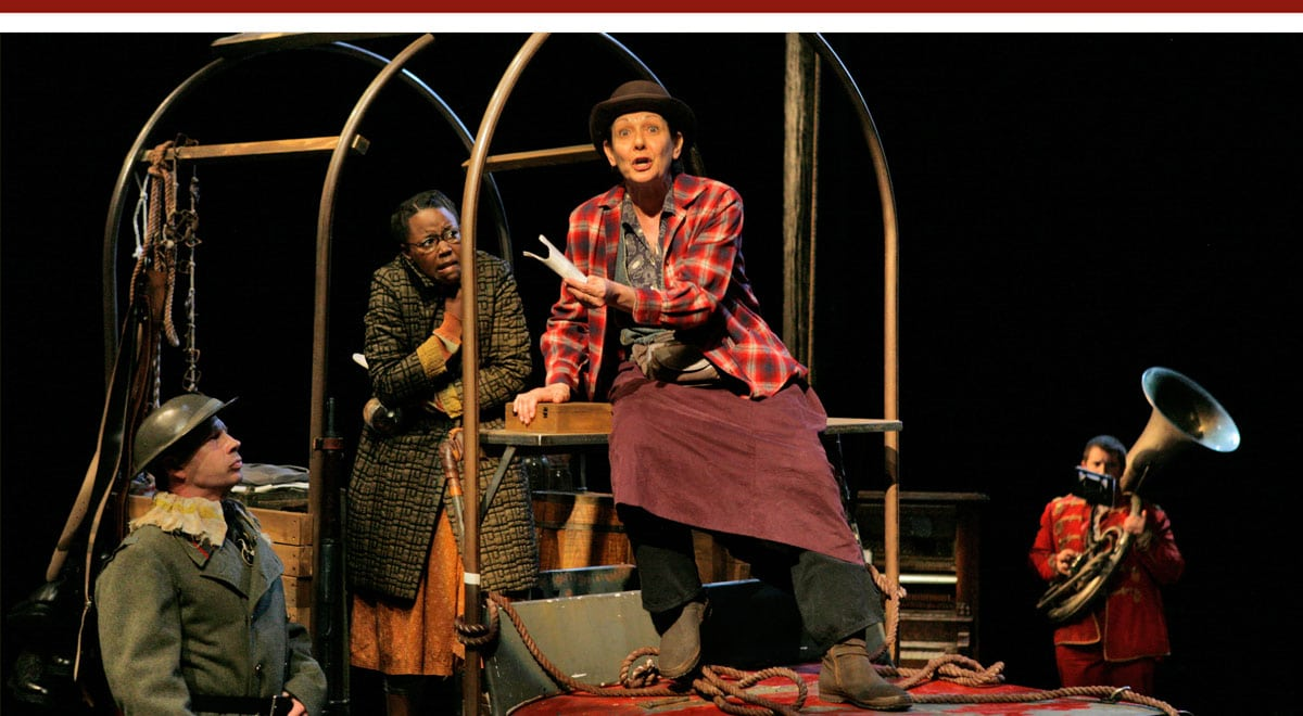Patrick Kerr, Hilary Ward, and Ivonne Coll and in Mother Courage at La Jolla Playhouse. Photo by Manuel Rotenberg