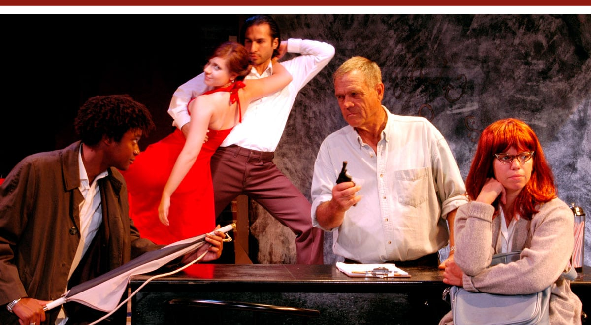 Matthew Thompson, Charles Howerton and Veronique Ory, with Kim Parmon and Adrian Vatsky in background, in the Athena Company's Slow Dance on the Killing Ground