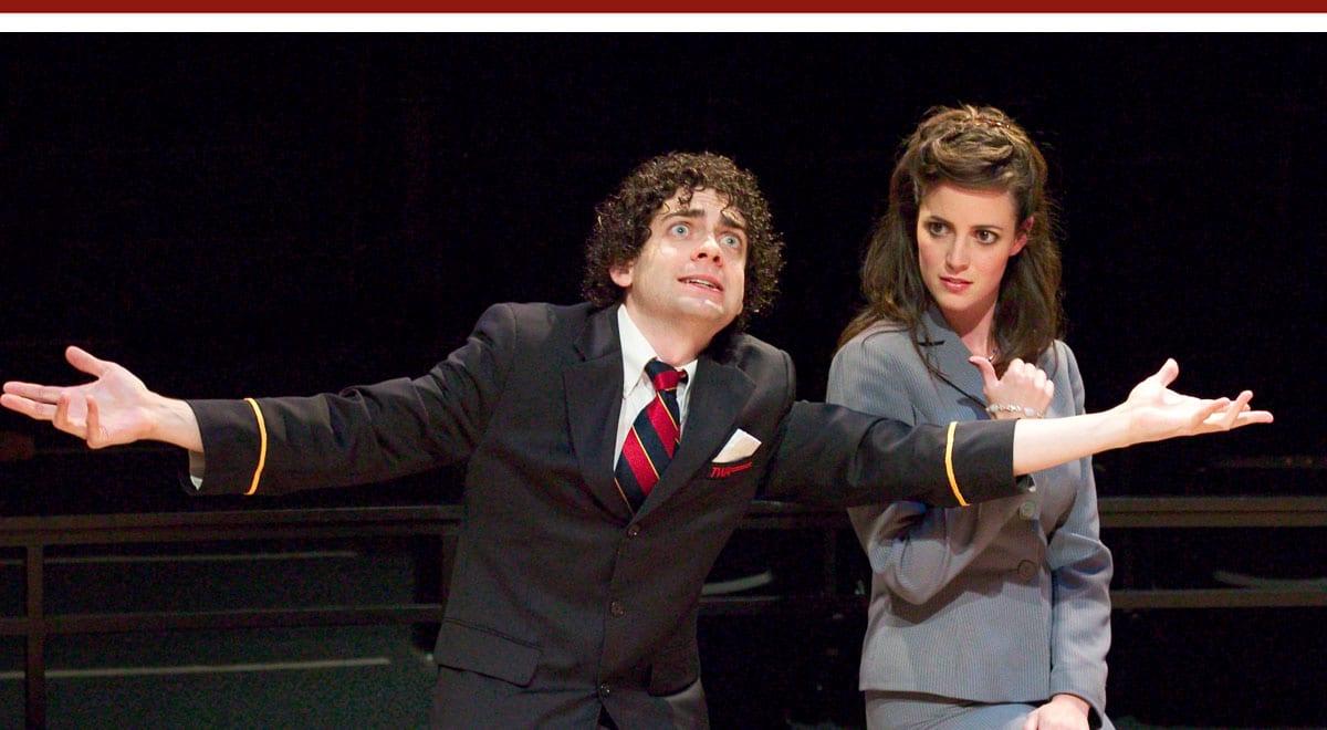 Jack Ferver and Sarah Grace Wilson in Harry Kondoleon's Christmas on Mars at La Jolla Playhouse. Photo by Craig Schwartz