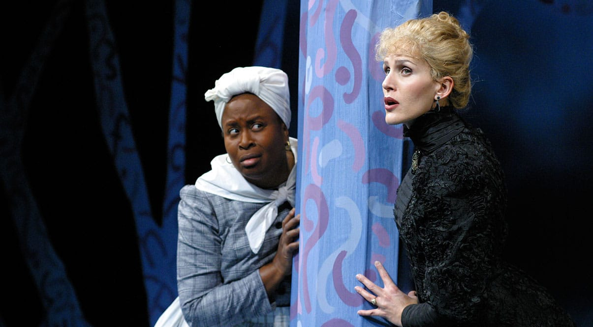 Kimberly Scott and Susannah Schulman in The Further Adventures of Hedda Gabler, at South Coast Repertory, photo by Cristofer Gross