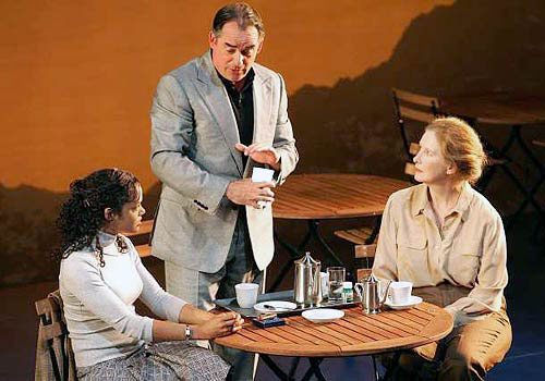 Tessa Thompson, Tom Irwin, and Frances Conroy in 'Pyrenees' at the Kirk Douglas Theatre