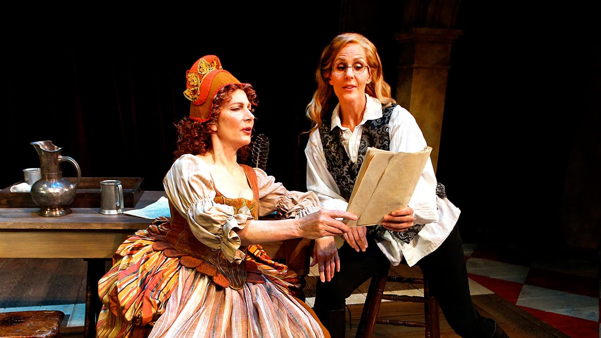 Colette Kilroy and Susannah Rogers in 'Shrew!' by Amy Freed at South Coast Repertory, March-April 2018