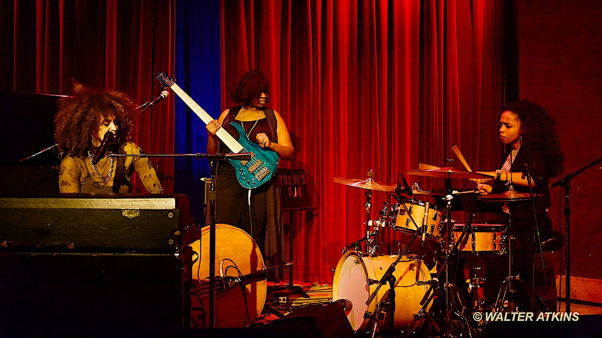 Jazz singer-pianist Kandace Springs on stage at Yoshi's Oakland with bassist Caylen Bryant and drummer Taylor Moore. Photo by Walter Atkins